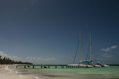 Two catamarans in port of Cayo Blanco, Cuba Stock Photo