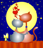 Two cats. Embrace tenderly watching the full moon, vector Royalty Free Stock Photo