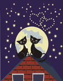 Two cats. Two black cats on a roof at a moonlight Stock Photography