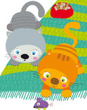 Two cats vector illustration