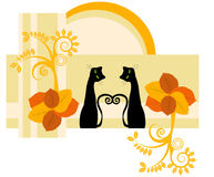 Two cats. Vector autumn design with two cats Royalty Free Stock Photo