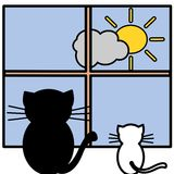 Two cats. An illustration of two cats watching sun Royalty Free Stock Image