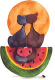 Two cats. On the watermelon and with the orange sun Stock Photo