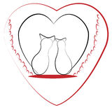 Two cats and heart- valentine Stock Photo