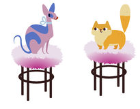 Two cats characters best happy friends. Cat of Sphynx breed and Persian cat. Vector flat cartoon illustration vector illustration