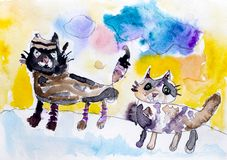 Two cats. Child watercolour hand drawing Stock Image