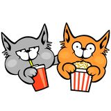 Two cats in the cinema stock illustration