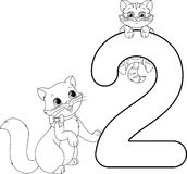 Two cats coloring page Stock Image