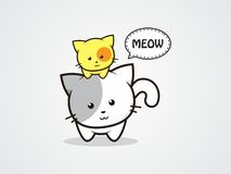 Two cats cute. Design character cartoon two cats cute. yellow and white Royalty Free Stock Photo