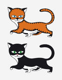 Two cats drawn red and black Royalty Free Stock Photos