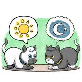 Two cats facing each other. Illustration of two cats facing each other with sun and moon in speech bubbles Royalty Free Stock Image