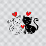 Two Cats Falling in Love. Cartoon style Stock Photo