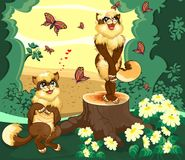 Two cats in the forest is admired by the butterflies. Two cats in the forest is admire by the beautiful view Stock Photo