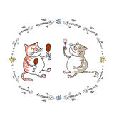 Two cats friends. Two fat cats drinking and eating Royalty Free Stock Image