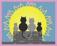 Vector illustration. Cats in love on roof with their kitten. Valentine day, all hearts day or love. vector illustration