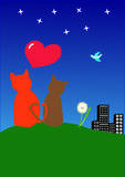Two cats and heart. On grass Royalty Free Stock Photos