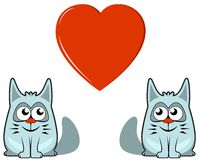 Two cats with heart Royalty Free Stock Photos