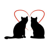 Two cats and heart. Black silhouette of a cat and the heart of red lines on white background, vector illustration Stock Photos