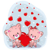 Two Cats with heart Royalty Free Stock Photo