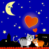 Two cats in love. Vector illustration depicting two cats in love on the roof at night Royalty Free Stock Photography