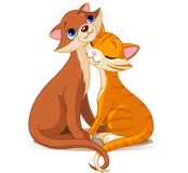 Two Cats in Love. Vector illustration of cats in true love Royalty Free Stock Photography