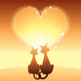 Two cats in love. An illustration of two cats and a heart Stock Images