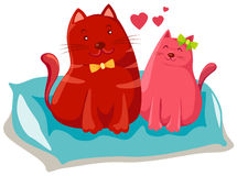 Two cats in love. Illustration of isolated two cats in love on white background Royalty Free Stock Images