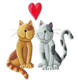 Two cats in love. Acrylic illustration of two cats in love Stock Image