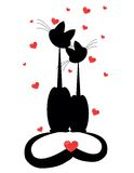 Two cats in love. Silhouettes of two cats in love Stock Photos