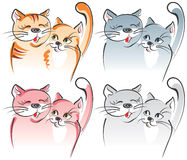 Two cats in love. Artistic vec. Two cats in love - romance. Four variants. Artistic vector illustration Stock Photos