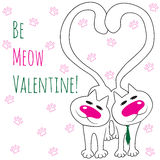 Two cats in love. Be Meow Valentine. Hand Drawn illustration with two cats. Be Meow Valentine Stock Photo