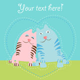 Two cats love card Royalty Free Stock Photography