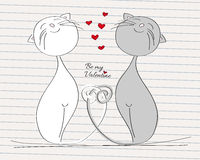 Two cats in love - grey and white cat with their tails twisted. Original hand drawn Valentine card Stock Images