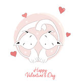 Two cats in love, happy Valentine's day Royalty Free Stock Image