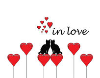 Two cats in love with heart and in love word Stock Photo