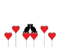 Two cats in love with heart Royalty Free Stock Photos