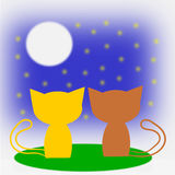 Two cats in love and Moon. Stock Illustration Stock Photos