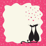 Two cats in love in a retro frame stock illustration