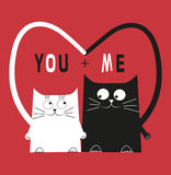 Two  cats in love. Two cats in love. Valentines Day decoration Stock Photography