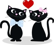 Two cats in love vector illustration