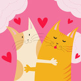 Two cats in love. Vector illustration. Cute card with two funny cats in love Stock Images