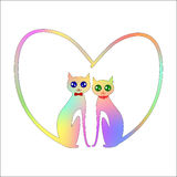 Two cats in love. Vector isolated Stock Photos