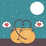 Two cats in love watching the moon. cute romanitc cartoon vector illustration Stock Photography
