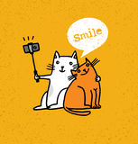 Two Cats Making Photo Using Selfie Stick. Funny Animal Illustration On Distressed Background.  Royalty Free Stock Photography