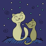 Two cats in the night. Two cats under the night sky stock illustration