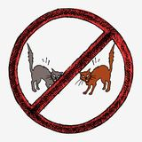 Two cats fighting. Two cats ready to fight with raised tails. Hand drawn  illustration in red sign Stock Photography