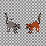 Two cats fighting. Two cats ready to fight with raised tails. Hand drawn  illustration, on transparent background Stock Image