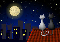 Two cats on a roof vector illustration