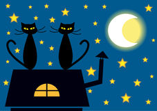 Two cats on the roof. Color cartoon illustration of two cats on the roof by night Royalty Free Stock Photo