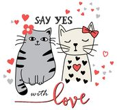 Two cats say yes with love stock illustration